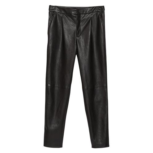 Bundfaltenhose-Zara-Lederimitat